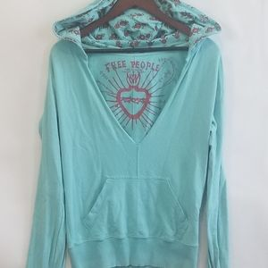 Free People V Neck Long Sleeve Pullover S Blue